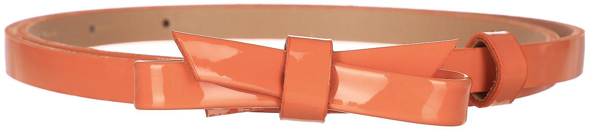 Ремень женский Finn Flare, цвет: оранжевый. S17-11301_402. Размер (85)S17-11301_402Такой симпатичный лаковый ремешок украсит любое ваше летнее платье или лёгкую рубашку! Кокетливый бант и яркий цвет освежат даже самый скучный наряд. Выполнен ремешок из прочной искусственной кожи.