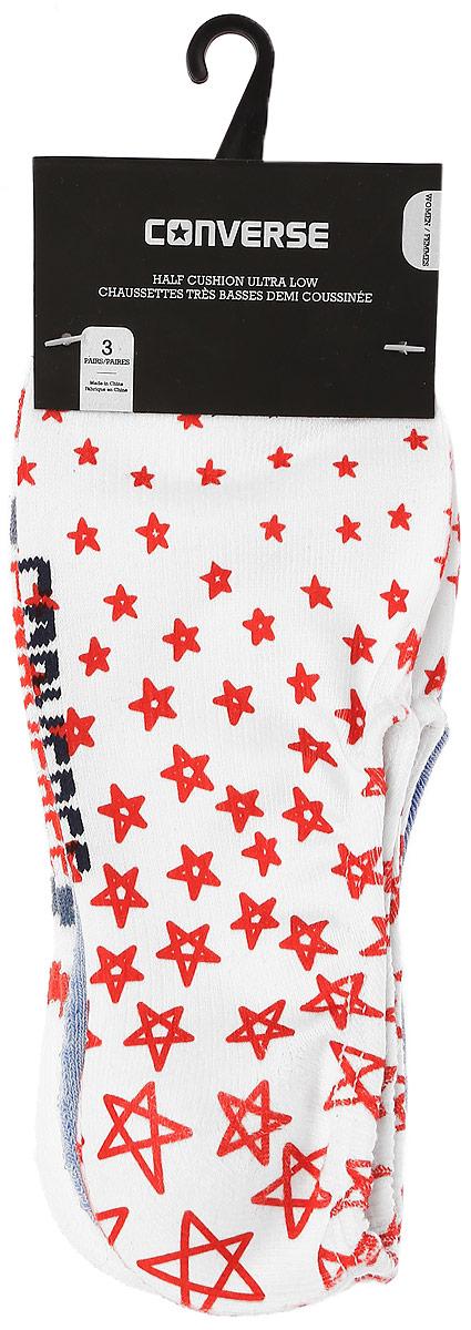 Носки Converse Converse Socks, цвет: мультиколор, 3 пары. EW3001. Размер 37/42EW3001Женские носки Converse изготовлены из качественного полиэстера с добавлением эластана. Укороченная модель декорирована оригинальным принтом.