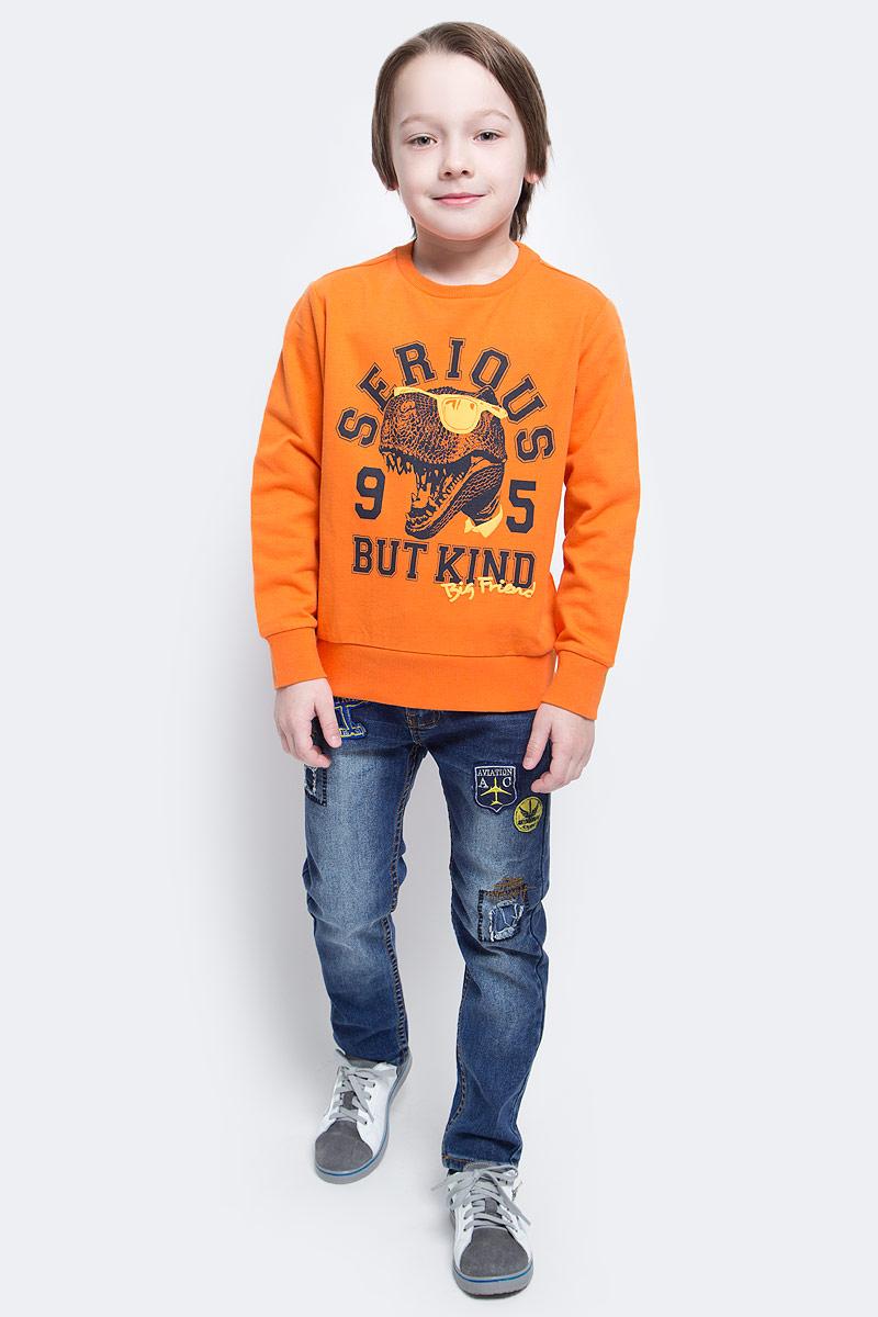 Свитшот для мальчика Sela, цвет: темно-оранжевый. St-813/168-7121. Размер 116, 6 летSt-813/168-7121Великолепный свитшот для мальчика Sela, изготовленный из натурального хлопка, необычайно мягкий и приятная на ощупь, не сковывает движения и позволяет коже дышать. Модель сдлинными рукавами и круглым вырезом горловины оформлена стильным принтом с надписями. Воротник, манжеты рукавов и низ свитшота выполнены из трикотажной резинки.