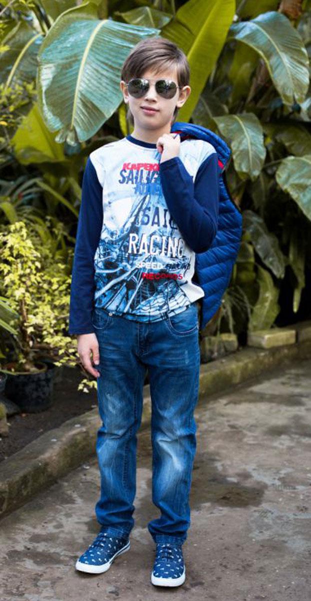 Джинсы для мальчика Luminoso, цвет: синий. 717004. Размер 140717004Джинсы для мальчика Luminoso имеют прямой крой. В боковой части пояса находятся вшитые эластичные ленты, регулирующие посадку по талии.