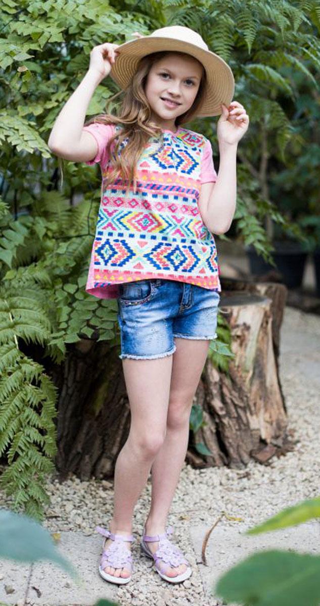 Футболка для девочки Luminoso, цвет: ярко-розовый. 718013. Размер 140718013Стильная футболка из трикотажной ткани с коротким рукавом и удлиненной спинкой. Декорирована ярким этническим принтом.
