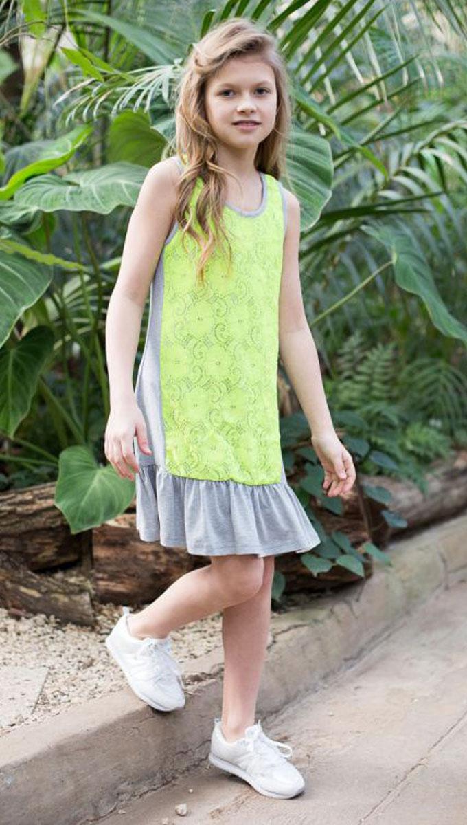 Платье для девочки Luminoso, цвет: серый, салатовый. 718020. Размер 158718020Трикотажное платье свободного кроя для девочки, декорированное контрастным кружевом и воланом по низу изделия.