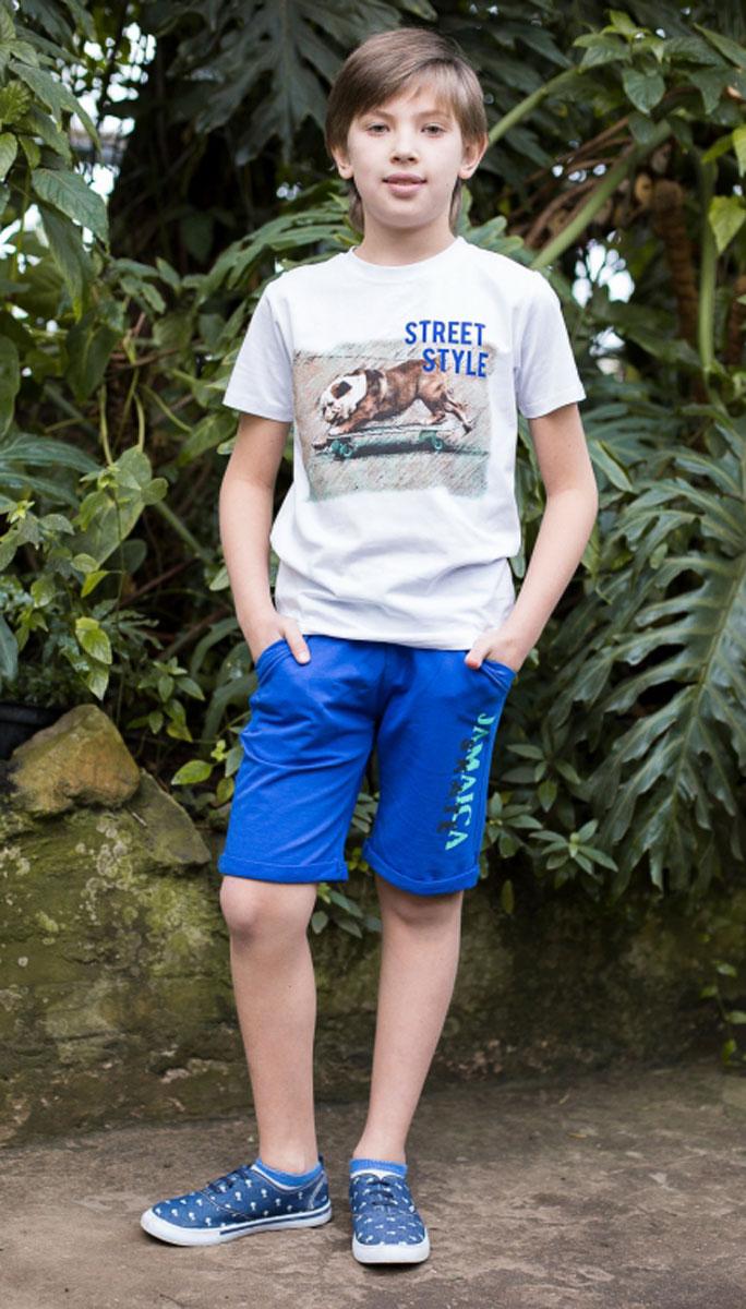 Бриджи/капри717032Трикотажные бриджи для мальчика. Низ изделия украшен модным принтом. Пояс-резинка дополнен шнурком для регулирования объема.