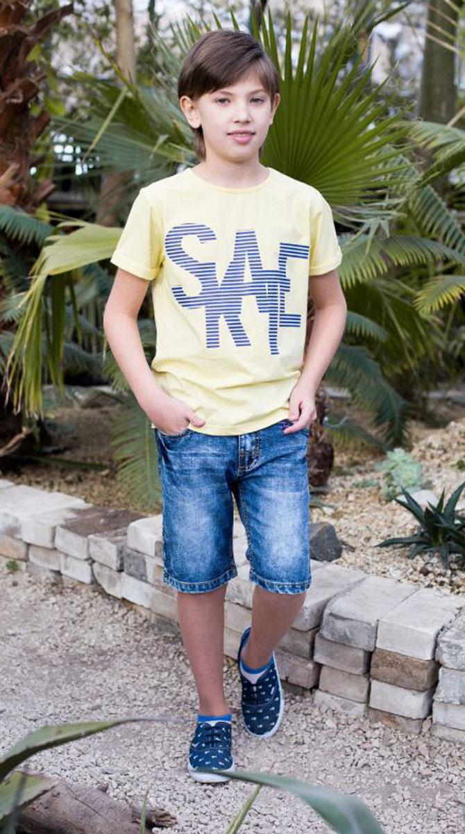 Шорты717031Джинсовые шорты для мальчика застегиваются на молнию и пуговицу. В боковой части пояса находятся вшитые эластичные ленты, регулирующие посадку по талии.