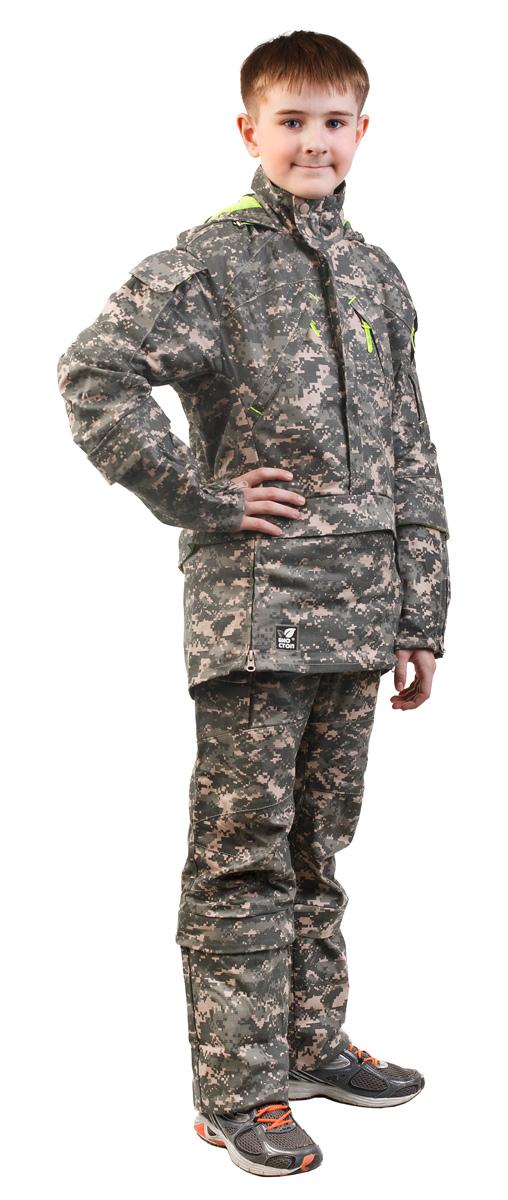 Костюм противоэнцефалитный для мальчика Биостоп, цвет: зеленый камуфляж. 06/4/07. Размер 36-72/17006/4/07Детский костюм Биостоп защитит от укуса клещей вашего ребенка. Схема расположения ловушек на костюме доработана с учетом роста детей. Куртка с застежкой на молнию, надевается через голову, молния закрыта двумя планками. Обработанные противоклещевым средством участки костюма не контактируют с кожей. Капюшон куртки дополнен козырьком и затягивается на шнурок со стопперами. Костюмы снабжен сигнальными элементами. В костюме Биостоп ребенок будет чувствовать себя не только безопасно, но и комфортно: его крой нисколько не стесняет движений. Обработанные противоклещевым средством участки костюма не контактируют с кожей. Защитные свойства костюма сохраняются даже после 50 стирок.