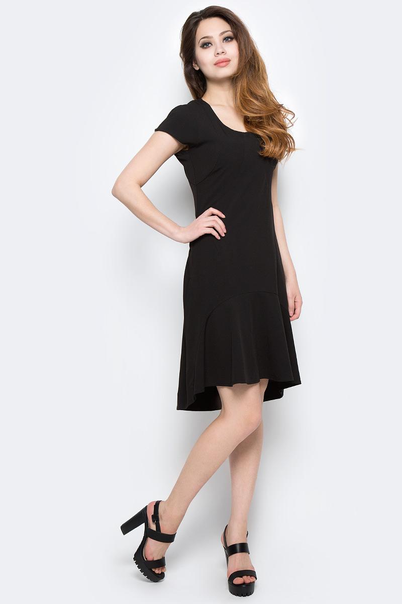 Платье Be in, цвет: черный. Пл 45-3. Размер S (42/44)Пл 45-3Стильное платье Be in изготовлено из качественной смесовой ткани. Модель длины миди с короткими рукавами оформлено спереди крупным воланом. Платье Be in - для девушки, стремящейся всегда оставаться стильной и элегантной.