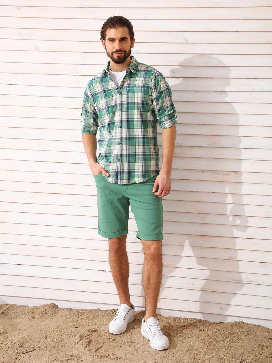 Рубашка мужская Top Secret, цвет: зеленый. SKL2336ZI. Размер 38/39 (46)SKL2336ZIРубашка мужская Top Secret выполнена из 100% хлопка. Модель с отложным воротником и длинными рукавами застегивается на пуговицы.
