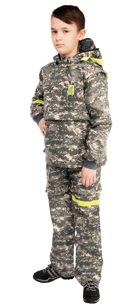 Костюм противоэнцефалитный детский Биостоп, цвет: зеленый камуфляж. 05/0/07. Размер 32-64/12805/0/07Детский костюм Биостоп защитит от укуса клещей самых маленьких и самых любимых членов семьи. Схема расположения ловушек на костюме доработана с учетом роста детей. Куртка с застежкой на молнии, надевается через голову, молния закрыта двумя планками. Рукава с манжетами, имеются штрипки по нижнему краю брючин, не позволяющие штанине задираться. Обработанные противоклещевым средством участки костюма не контактируют с кожей. Капюшон куртки дополнен антимоскитной сеткой на молнии, которая защитит лицо от мошки и гнуса, быстро застегивается в случае необходимости и также легко убирается. Все костюмы снабжены сигнальными элементами на капюшоне, рукаве и брючине. В костюме Биостоп ребенок будет чувствовать себя не только безопасно, но и комфортно: его крой нисколько не стесняет движений.