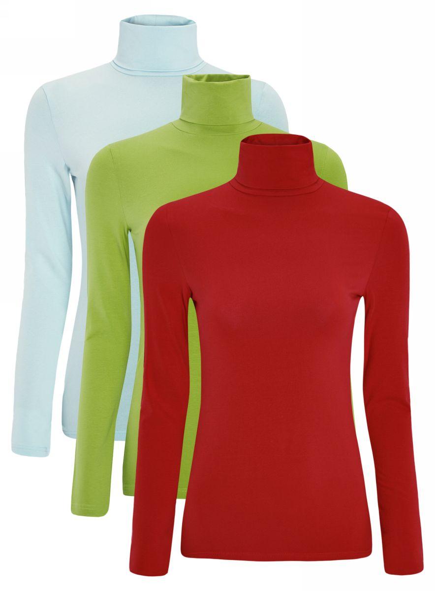 Водолазка женская oodji Ultra, цвет: голубой, зеленый, красный, 3 шт. 15E02001T3/46147/19CFN. Размер L (48)15E02001T3/46147/19CFNБазовая женская водолазка oodji Ultra выполнена из эластичной хлопковой ткани. У модели воротник-гольф и стандартные длинные рукава. В комплект входит три водолазки.