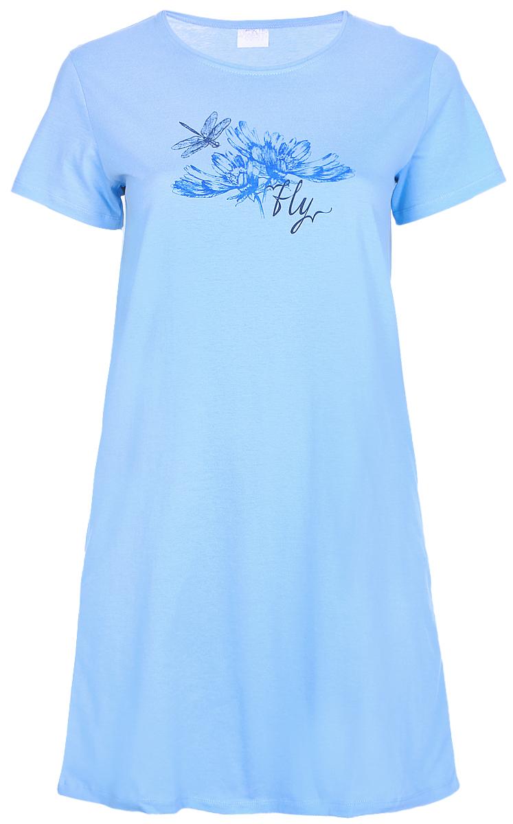Платье домашнее Violett, цвет: голубой. 17110812. Размер XXXXL (56)17110812Домашнее платье Violett выполнено из натурального хлопка. Платье-миди с круглым вырезом горловины и короткими рукавами оформлено стильным принтом.
