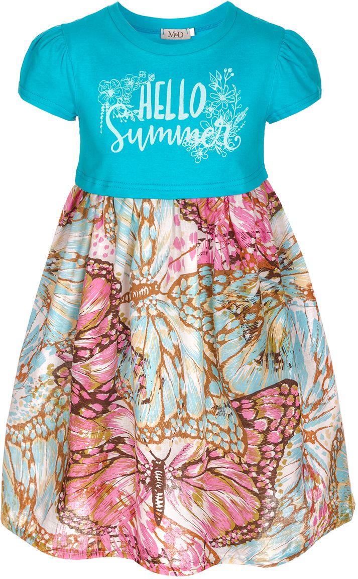 Платье для девочки M&D, цвет: голубой, сиреневый. SCD27049M22. Размер 116SCD27049M22Платье для девочки от бренда M&D приведет в восторг вашу юную модницу! Платье изготовлено из натурального хлопка с небольшим добавлением полиэстера. Модель с круглым вырезом горловины, отрезной талией и короткими рукавами на груди оформлена принтовой надписью Hello Summer. Пышная юбочка с оригинальным принтом придает платью воздушности и очарования. В таком платье ваша малышка всегда будет в центре внимания.