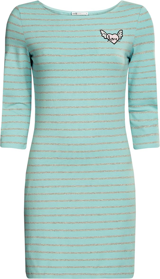 Платье oodji Ultra, цвет: бирюза, светло-серый, полоски. 14001071-5/46148/7320S. Размер S (44)14001071-5/46148/7320SПлатье с аппликацией Окрыленное сердце