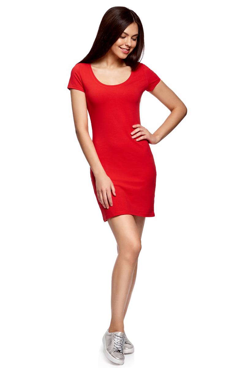 Платье oodji Ultra, цвет: красный. 14001182B/47420/4500N. Размер L (48)14001182B/47420/4500NОблегающее платье oodji Ultra выполнено из качественного трикотажа. Модель мини-длины с круглымвырезом горловиныи короткими рукавамивыгодно подчеркивает достоинства фигуры.
