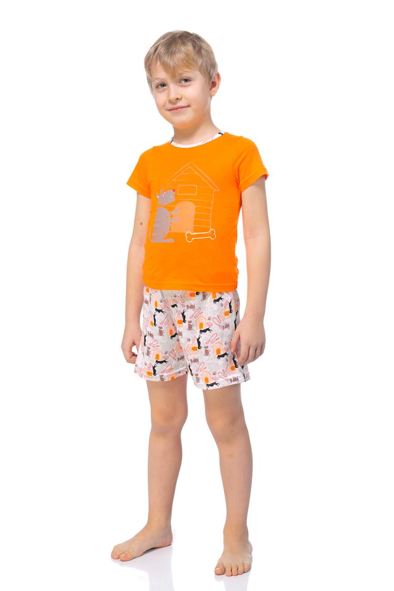 Пижама для мальчика Lowry, цвет: оранжевый. BPG-75. Размер XS (92/98)BPG-75Яркая пижама для мальчика Lowry, состоящая из футболки и шортиков, идеально подойдет вашему ребенку и станет отличным дополнением к детскому гардеробу. Пижама, изготовленная из натурального хлопка, необычайно мягкая и легкая, не сковывает движения ребенка, позволяет коже дышать и не раздражает даже самую нежную и чувствительную кожу малыша. Футболка с короткими рукавами и круглым вырезом горловины. Шортики прямого кроя на широкой эластичной резинке не сдавливают животик ребенка и не сползают.В такой пижаме ваш маленький непоседа будет чувствовать себя комфортно и уютно во время сна.