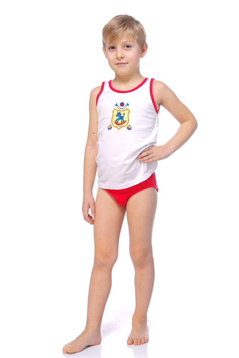 Майка для мальчика Lowry, цвет: белый, красный. BM-316. Размер S (98/104)BM-316Майка для мальчика Lowry выполнена из натурального хлопка. Модель с круглым вырезом горловины оформлена оригинальным принтом.