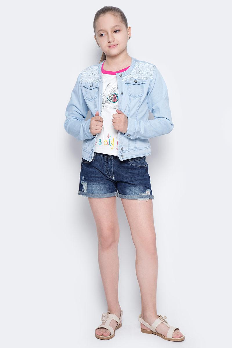 Куртка джинсовая для девочки Sela, цвет: голубой джинс. JTj-636/035-7142. Размер 134, 9 летJTj-636/035-7142Джинсовая куртка для девочки Sela, выполненная из качественного хлопкового материала и оформленная ажурной вставкой, станет отличным дополнением гардероба юной модницы. Слегка укороченная модель прямого кроя с круглым вырезом горловины застегивается на пуговицы и дополнена двумя накладными карманами с клапанами на пуговицах. Манжеты длинных рукавов также дополнены пуговицами. Куртка подойдет для прогулок и дружеских встреч и будет отлично сочетаться с джинсами и брюками, а также гармонично смотреться с юбками.