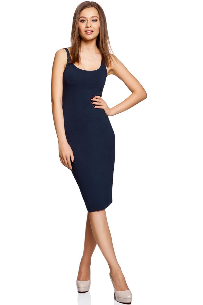 Платье oodji Ultra, цвет: темно-синий. 14015007-2B/47420/7900N. Размер XS (42)14015007-2B/47420/7900NЛегкое обтягивающее платье oodji Ultra, выгодно подчеркивающее достоинства фигуры, выполнено из качественного эластичного хлопка. Модель миди-длины с круглым вырезом горловины и узкими бретелями дополнена разрезом на юбке с задней стороны. Мягкая ткань приятна на ощупь и комфортна в носке.