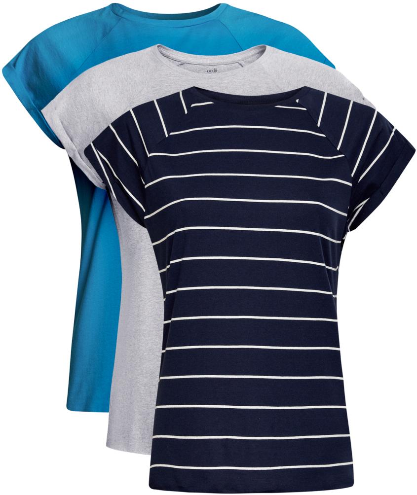 Футболка женская oodji Ultra, цвет: голубой, серый, темно-синий. 14707001T3/46154/19C4N. Размер XS (42)14707001T3/46154/19C4NБазовая футболка с короткими рукавами и круглым вырезом горловины выполнена из натурального хлопка. В комплект входит три футболки.