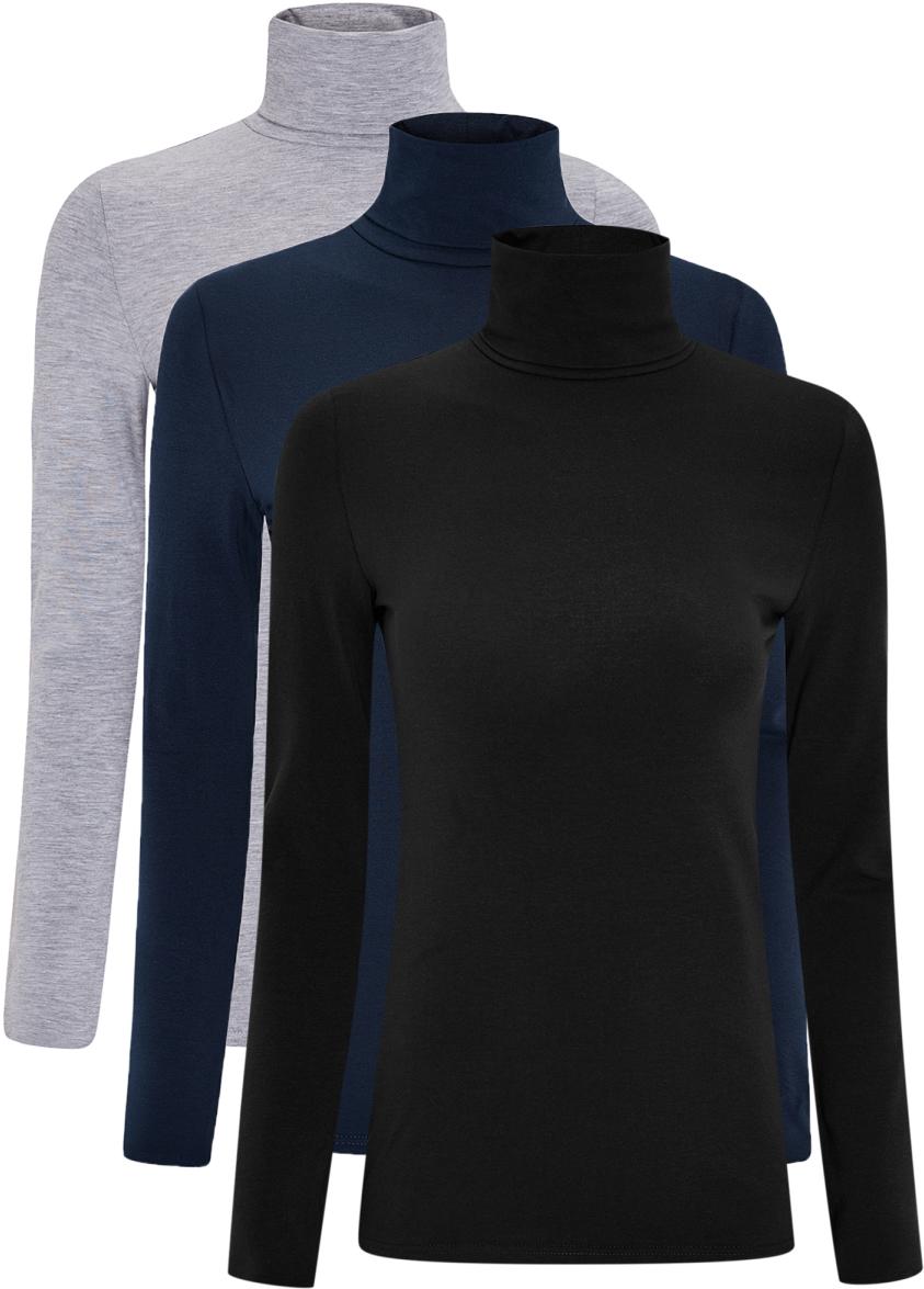 Водолазка женская oodji Ultra, цвет: серый, темно-синий, черный, 3 шт. 15E02001T3/46147/19BAN. Размер XXS (40)15E02001T3/46147/19BANБазовая женская водолазка oodji Ultra выполнена из эластичной хлопковой ткани. У модели воротник-гольф и стандартные длинные рукава. В комплект входит три водолазки.