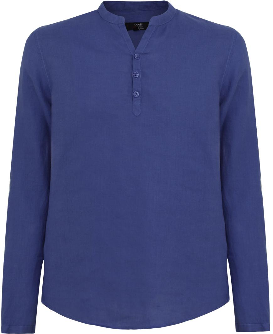 Рубашка мужская oodji Basic, цвет: индиго. 3B320002M/21155N/7800N. Размер L-182 (52/54-182)3B320002M/21155N/7800NМужская рубашка от oodji выполнена из натурального льна. Модель без воротника с длинными рукавами на груди застегивается на пуговицы.