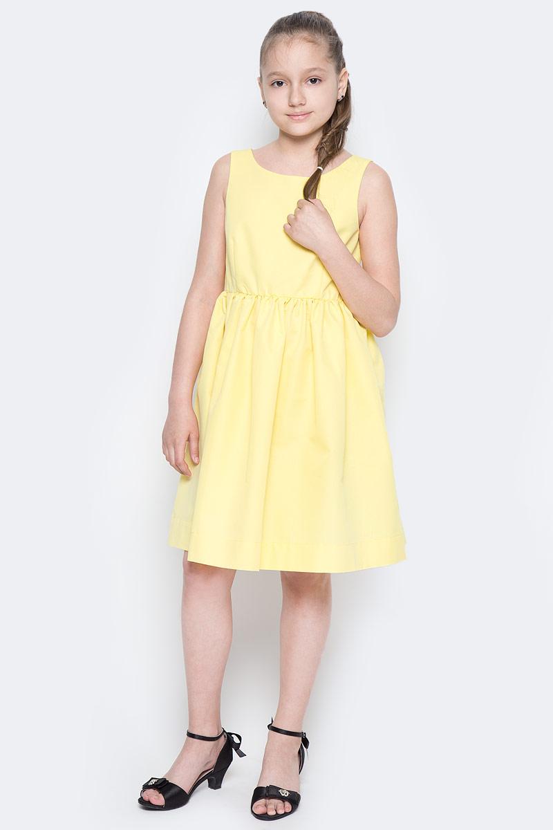Платье для девочки Button Blue Main, цвет: желтый. 117BBGC25022700. Размер 98, 3 года117BBGC25022700Прекрасный летний вариант - яркое текстильное платье на тонкой хлопковой подкладке. Модный силуэт, комфортная форма делают платье для девочки отличным решением для каждого дня лета. Если вы хотите приобрести одновременно и красивую, и практичную, и удобную вещь, вам стоит купить детское платье от Button Blue.