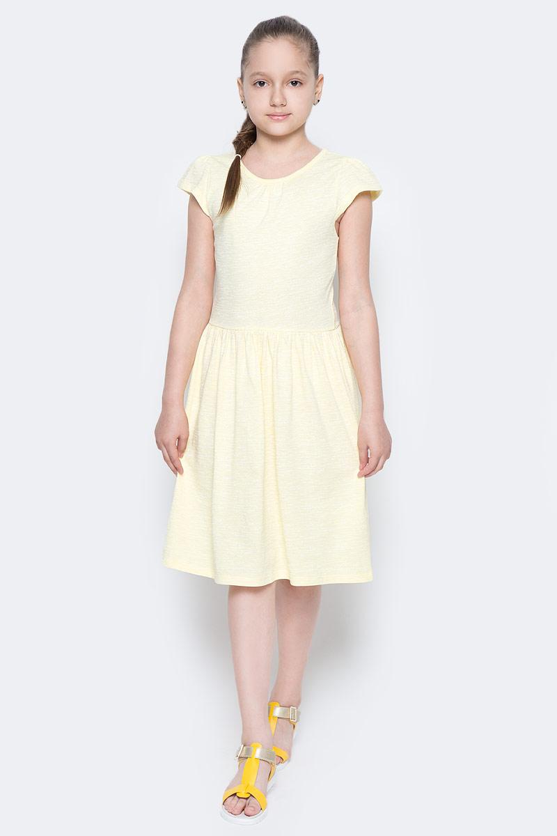 Платье для девочки Sela, цвет: светло-желтый. Dks-617/853-7224. Размер 122, 7 летDks-617/853-7224Лаконичное платье для девочки Sela выполнено из натурального хлопка. Модель приталенного кроя с расклешенной юбкой и короткими рукавами-крылышками подойдет для прогулок и дружеских встреч и станет отличным дополнением гардероба маленькой модницы. Вырез горловины дополнен мягкой эластичной бейкой. Мягкая ткань комфортна и приятна на ощупь.