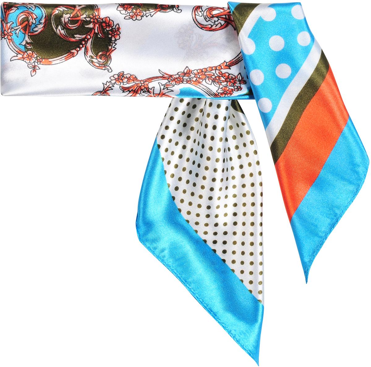 Шейный платок женский Модные истории, цвет: голубой, коричневый, белый. 23/0514/181. Размер 60 см х 60 см23/0514/181Модный шейный платок с панельным дизайном сочетает в себе блоки геометрических принтов. Натуральный шелк в составе придает ему атласную, приятную на ощупь поверхность. Лаконичная машинная обработка края. Платок с ярким, контрастным кантом -прекрасно подойдет для любого случая.