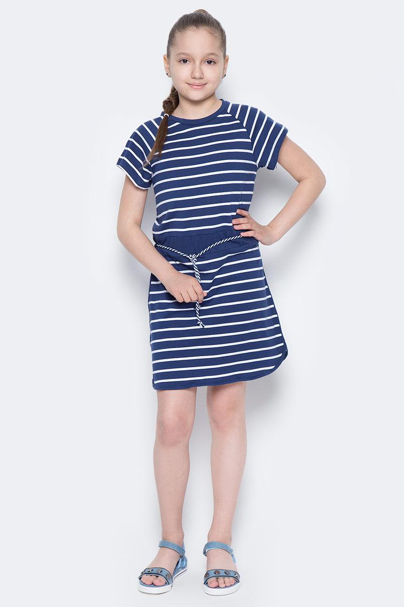 Платье для девочки Sela, цвет: сине-фиолетовый. Dks-617/434-7233. Размер 122, 7 летDks-617/434-7233Лаконичное платье для девочки Sela выполнено из натурального хлопка и оформлено принтом в полоску. Модель прямого кроя с короткими рукавами-реглан подойдет для прогулок и дружеских встреч и станет отличным дополнением гардероба юной модницы. Линию талии подчеркивает вшитый пояс со шнурком. Круглый вырез горловины дополнен мягкой трикотажной резинкой.
