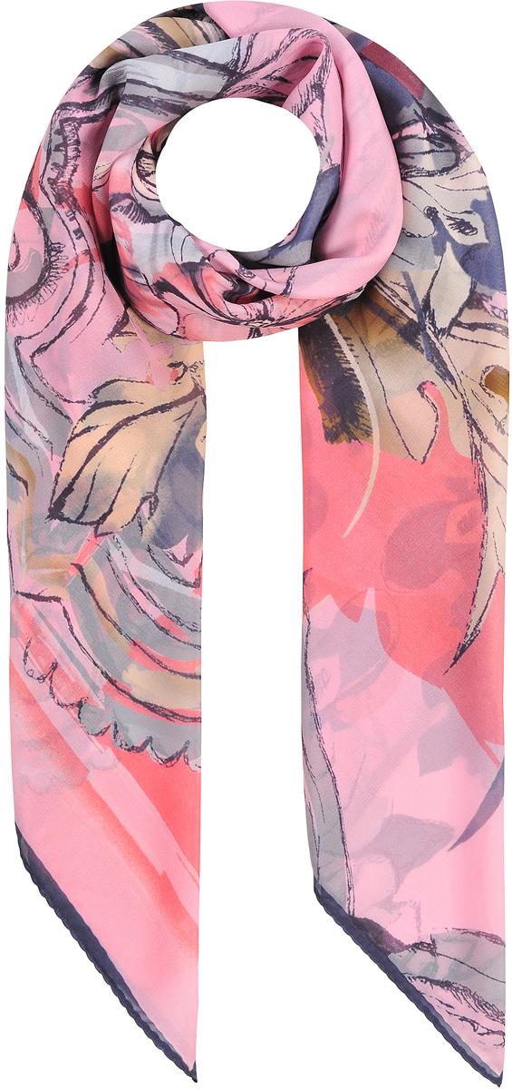 Платок23/0531/006Стильный головной платок с натуральным шелком в составе. В основе невообразимо красивый яркий принт совмещающий в себе богатую флору и вензеля. Лаконичная машинная обработка контрастного края. Состав: 80% хлопок; 20% шелк. Размер: 110х110 см.