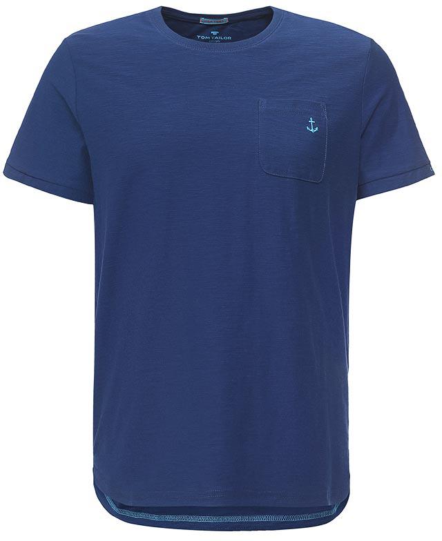 Футболка мужская Tom Tailor, цвет: темно-синий. 1037706.00.10_6621. Размер M (48)1037706.00.10_6621Мужская футболка Tom Tailor выполнена из хлопка. Модель с круглым вырезом горловины и стандартными короткими рукавами. Спереди изделие дополнено накладным карманом.