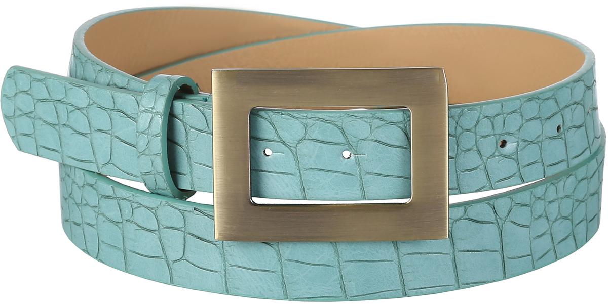 Ремень женский Модные истории, цвет: зеленый. 91/0269/243. Размер 120 см91/0269/243Трендовый ремень выполнен из искусственной кожи, декорирован под змеиную кожу. Модель с классической прямоугольной пряжкой цвета состаренной меди.