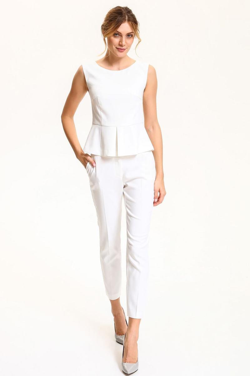 Блузка женская Top Secret, цвет: белый. SBW0332BI. Размер 38 (46)SBW0332BIБлузка женская Top Secret выполнена из высококачественного комбинированного материала. Модель с круглым вырезом горловины сзади застегивается на завязки и застежку-молнию.