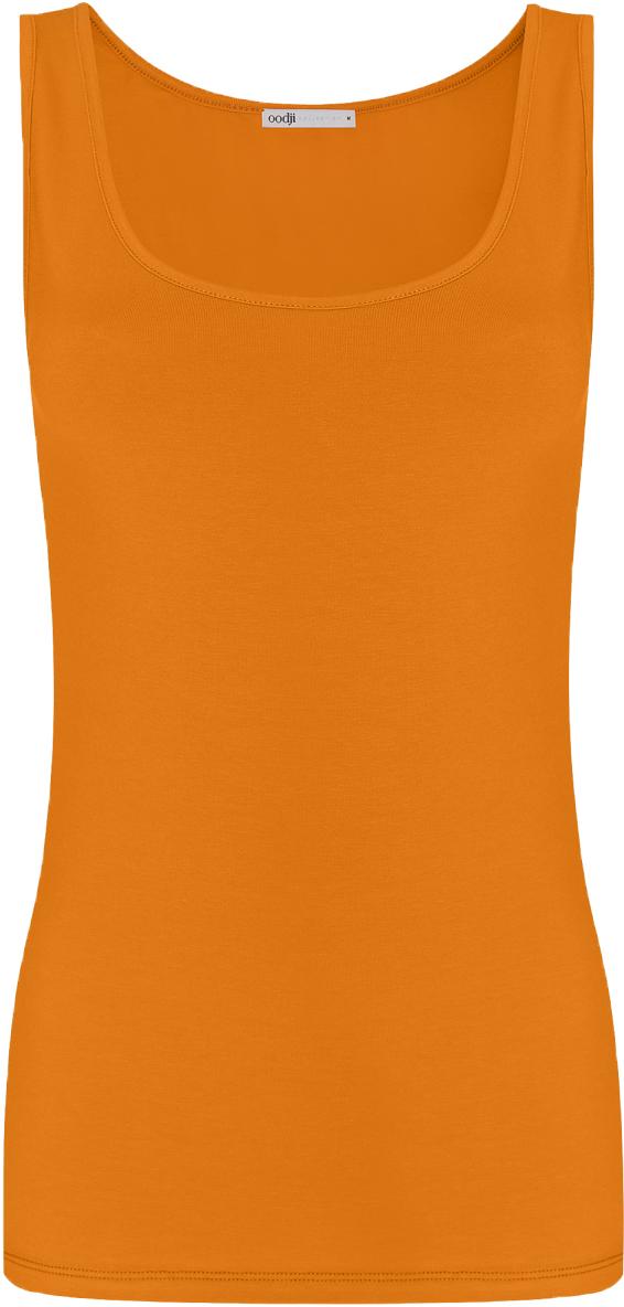 Майка женская oodji Collection, цвет: темно-оранжевый. 24315001B/46147/5900N. Размер XS (42)24315001B/46147/5900NМайка oodji Collection выполнена из хлопка с добавлением эластана, который обладает свойством эластичности. Модель без рукавов и круглым вырезом горловины дополнена прострочкой.