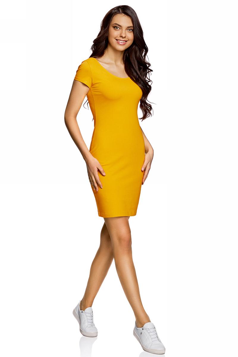 Платье oodji Collection, цвет: горчичный. 24001082-2B/47420/5700N. Размер XS (42)24001082-2B/47420/5700NПлатье от oodji облегающего силуэта с глубоким вырезом на спине выполнено из эластичного хлопка. Модель с короткими рукавами.