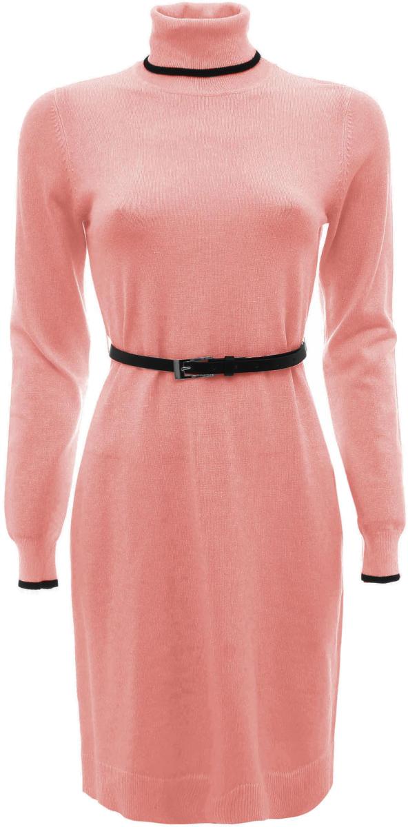 Платье oodji Collection, цвет: коралловый. 73912186/31361/4300N. Размер 36 (42)73912186/31361/4300NТрикотажное платье oodji изготовлено из качественного смесового материала. Модель выполнена с высоким воротником и дополнена тонким ремешком. Низ изделия и рукава оформлены вязаными резинками.