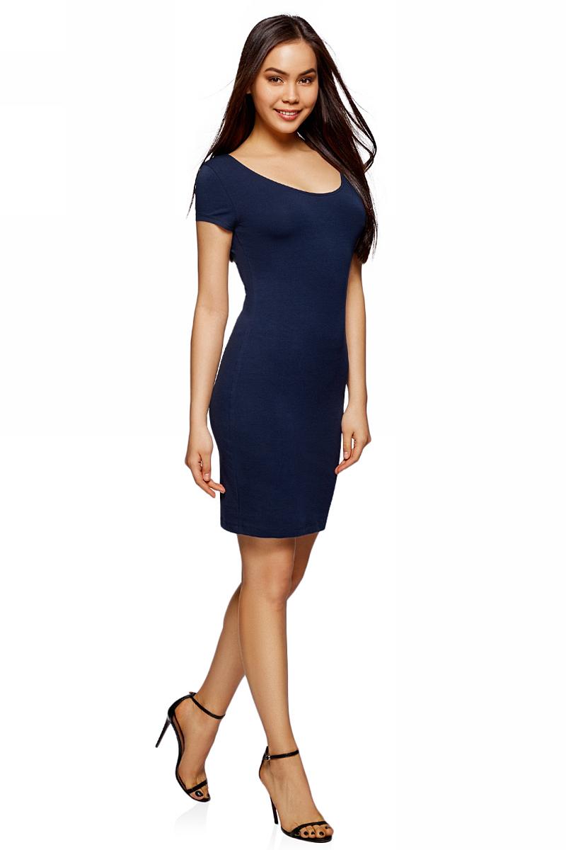 Платье oodji Collection, цвет: темно-синий. 24001082-2B/47420/7900N. Размер XL (50)24001082-2B/47420/7900NПлатье от oodji облегающего силуэта с глубоким вырезом на спине выполнено из эластичного хлопка. Модель с короткими рукавами.
