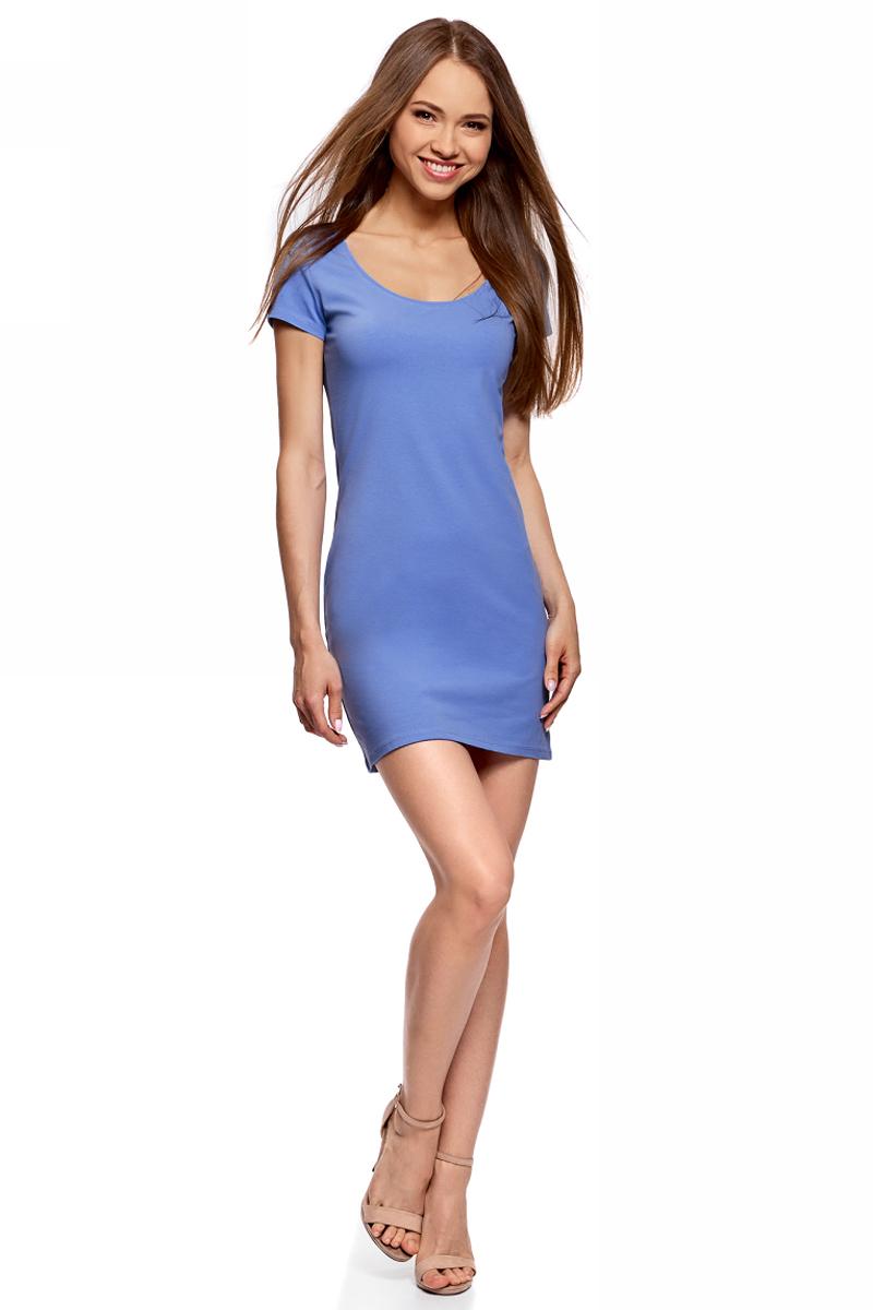 Платье oodji Ultra, цвет: синий. 14001182B/47420/7502N. Размер XL (50)14001182B/47420/7502NОблегающее платье oodji Ultra выполнено из качественного трикотажа. Модель мини-длины с круглымвырезом горловиныи короткими рукавамивыгодно подчеркивает достоинства фигуры.