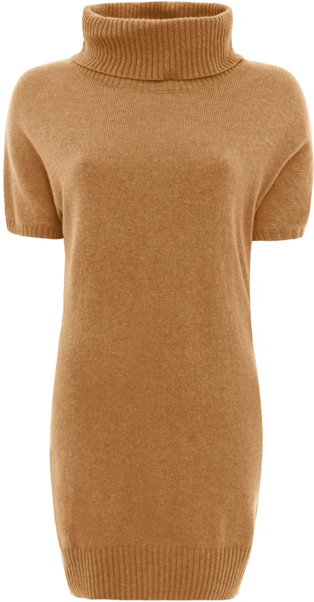 Платье oodji Ultra, цвет: темно-бежевый. 63907060/35057/3500N. Размер 36 (42)63907060/35057/3500NТрикотажное платье oodji изготовлено из качественного смесового материала. Облегающая модель выполнена с объемным воротником-гольф и короткими рукавами.