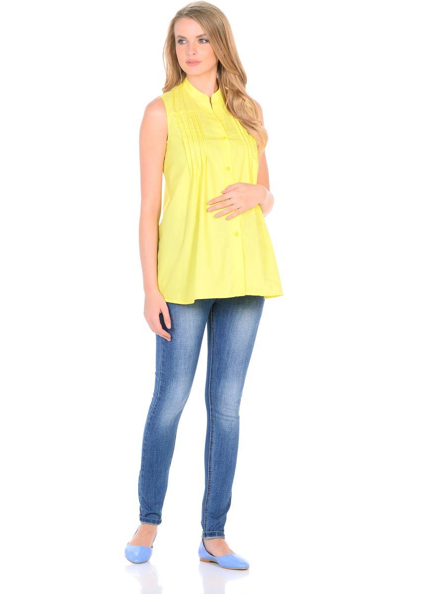 Блузка для беременных 40 недель, цвет: желтый. 215207. Размер 46215207Стильная блузка для беременных от бренда 40 недель изготовлена из тонкого, приятного к телу материала с высоким содержанием хлопка. Модель трапециевидного силуэта, без рукавов, с воротником-стойкой. Передняя планка застегивается на пуговицы. На полочках для декора предусмотрен ряд вертикальных защипов от высокой кокетки. Универсальный фасон обеспечивает комфорт в период беременности, а после рождения малыша - скрывает временные несовершенства фигуры. Планка на пуговицах удобна в момент грудного кормления. Блузка отлично смотрится с джинсами, разнообразными брюками, шортами и юбками.