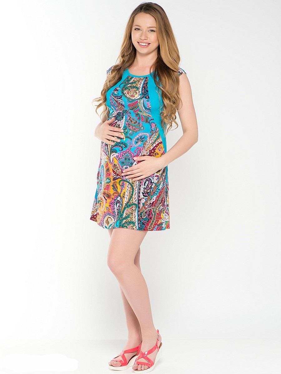 Платье для беременных 40 недель, цвет: голубой, желтый. 46421. Размер 4646421Легкое платье для беременных от бренда 40 недель - прекрасный выбор на лето для будущей мамы. Модель свободного кроя, с округлой горловиной и без рукавов. Платье декорировано трикотажными вставками. Платье подходит для носки как во время беременности, так и после рождения малыша.