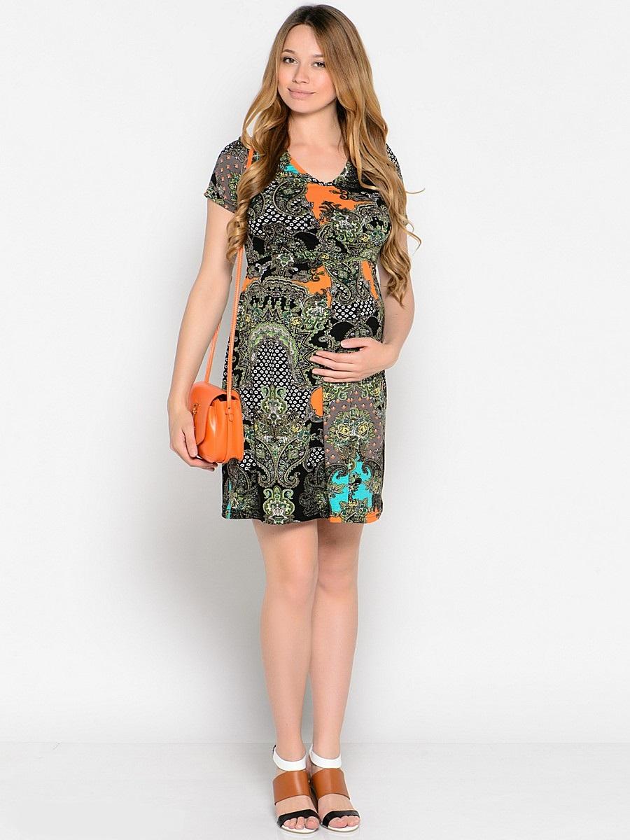 Платье для беременных 40 недель, цвет: серый, оранжевый, бирюзовый. 37378. Размер 4237378сПовседневное платье для беременных и кормящих мамочек от бренда 40 недель - отличный выбор на каждый день! Модель с коротким рукавом выполнена из мягкого трикотажного полотна ярких контрастных оттенков, горловина V-образная, в боковых швах втачной поясок. Двойной лиф обеспечивает комфорт при кормлении малыша, а мягкие складки от кокетки создают комфорт для животика на любом сроке беременности. Яркая расцветка сделает привлекательным и оригинальным ваш женственный образ.
