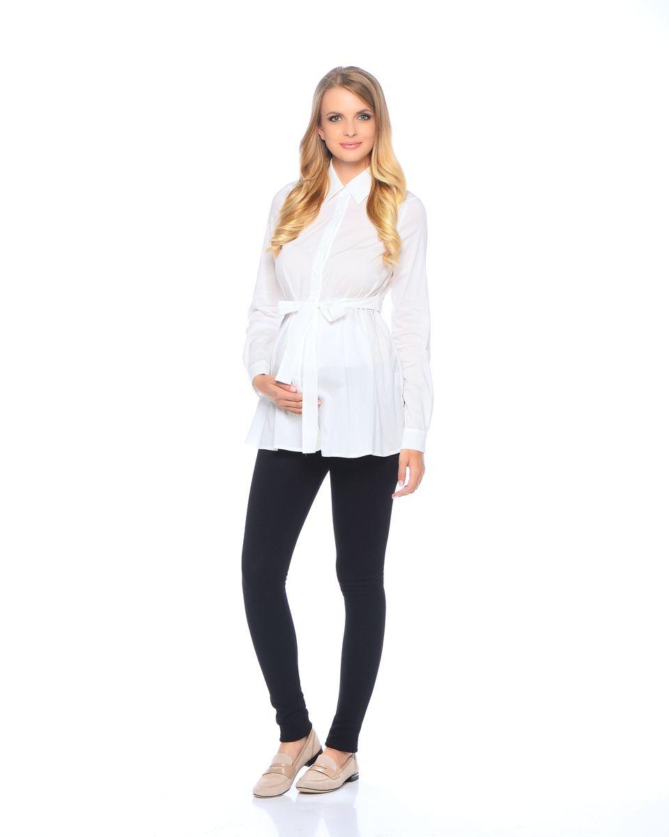 Блузка для беременных 40 недель, цвет: молочный. 215203. Размер 52215203Классическая блузка для беременных от бренда 40 недель - прекрасный офисный вариант для будущей мамы. Модель трапециевидного покроя, с поясом, длинным рукавом и с отложным воротником. Передняя планка полностью застегивается на пуговицы. Специальный крой обеспечивает отличную посадку по фигуре и создает простор для животика. Поясом можно подчеркнуть женственный силуэт.Универсальный фасон позволяет комбинировать такую блузку с любыми предметами гардероба и создавать безупречные образы на каждый день или для особых случаев в период беременности и после рождения малыша.