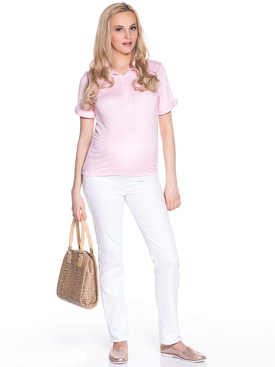 Блузка21301Футболка-поло выполнена из мягкого трикотажного полотна. Воротник отложной, рукав классический втачной с манжетом, украшенный декоративными пуговицами, спереди присборено для объема живота. На груди декоративные карманы. Универсальный крой подходит на любой период беременности и после. Сочетается с одеждой разных стилей от классического, до непринужденного кэжуал.