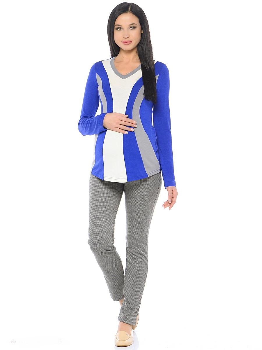 Блузка для беременных 40 недель, цвет: синий, серый, молочный. 200229. Размер 42200229Модная блузка для беременных от бренда 40 недель выполнена из вискозного полотна в комбинированной расцветке. Модель полуприталенного силуэта, с длинным рукавом и V-образным вырезом горловины. Передняя часть блузки выполнена из фигурных клиньев в гармоничной цветовой гамме. Такой крой визуально делает силуэт стройнее, создает объем для животика и позволяет комбинировать такую блузку со многими предметами гардероба на протяжении всего срока беременности и после него.