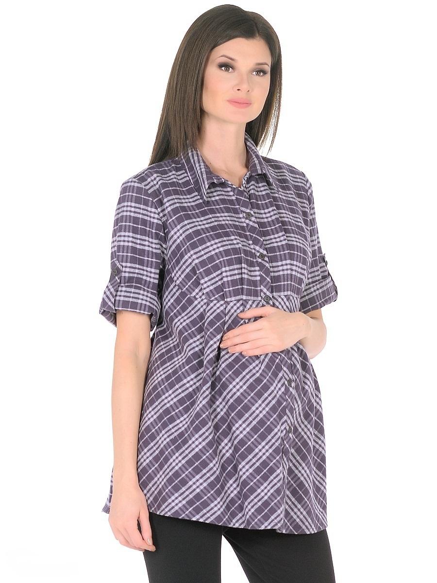 Блузка для беременных 40 недель, цвет: темно-фиолетовый. 211225/1. Размер 54211225/1Женственная блузка для беременных женщин изготовлена из мягкого трикотажа в клетку. Модель свободного силуэта от кокетки, с рукавами 3/4 и классическим отложным воротником, передняя планка застегивается на пуговицы. Втачными завязками можно регулировать силуэт по мере изменения телосложения в период беременности, а после рождения малыша такой фасон скроет временные несовершенства фигуры. Рукава дополнены хлястиками с пуговицами для изменения длинны. Материал приятный на ощупь, очень мягкий и согревающий, практичный и износостойкий. Такая блузка отлично смотрится и комбинируется практически с любыми предметами повседневного гардероба.