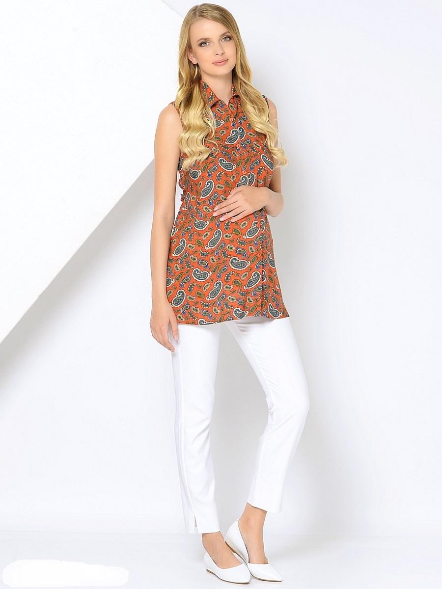 Блузка для беременных 40 недель, цвет: терракотовый. 215201. Размер 42215201Легкая блузка для беременных от бренда 40 недель выполнена из нежной воздушной вискозы. Модель свободного покроя, без рукавов с застежкой на пуговицы. Блузка дополнена отложным воротником и отстегивающимися поясками. Модная блузка рубашка в сочетании с любым низом позволит вам создавать уникальные наряды на каждый день, обеспечивая легкость и комфорт в процессе носки.