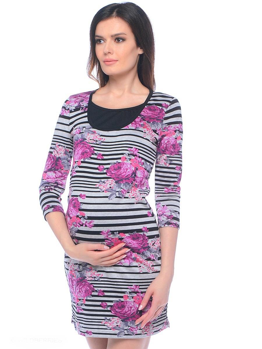 Платье300206Женственное и практичное платье для беременных и кормящих женщин, из принтованной мягкой хлопковой ткани, с уникальным секретом кормления. Модель силуэтного покроя с рукавом три четверти и округлым вырезом по горловине. Универсальный фасон сочетает в себе модный дизайн и комфортные характеристики ткани и кроя, благодаря чему платье прекрасно подходит на весь срок беременности и в период грудного вскармливания.