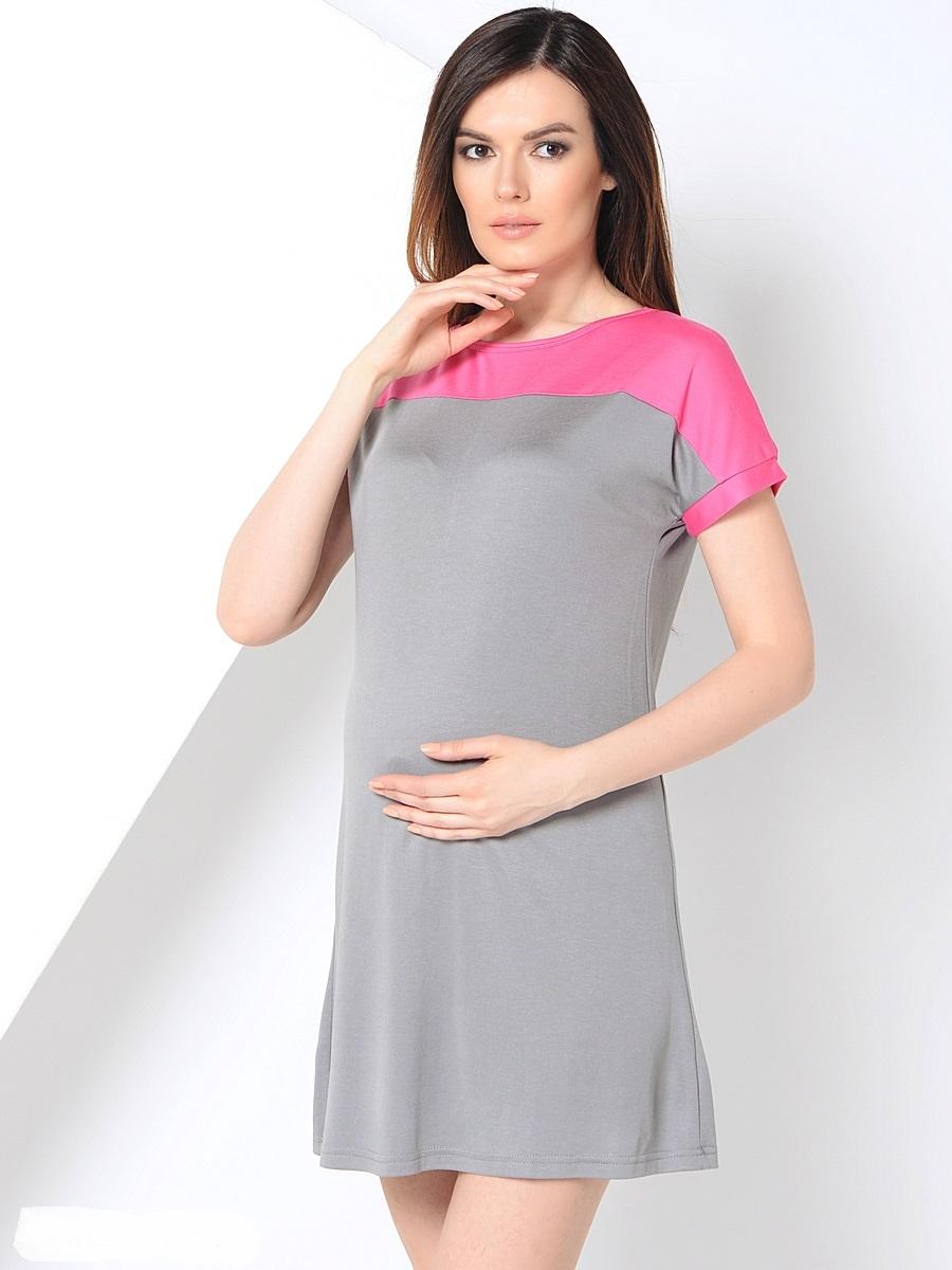 Платье для беременных 40 недель, цвет: серый, розовый. 300304. Размер 44300304Повседневное платье для беременных от бренда 40 недель покорит вас своим дизайном. Модель прямого силуэта с коротким рукавом-реглан и вырезом лодочка. Благодаря эластичному материалу и свободному крою, платье идеально садиться по фигуре и обеспечивает комфорт при движении. Женственный вырез изящно подчеркивает вырез плеч, короткий спущенный рукав и дышащая ткань создают благоприятное ощущение при носке даже в жаркую погоду.