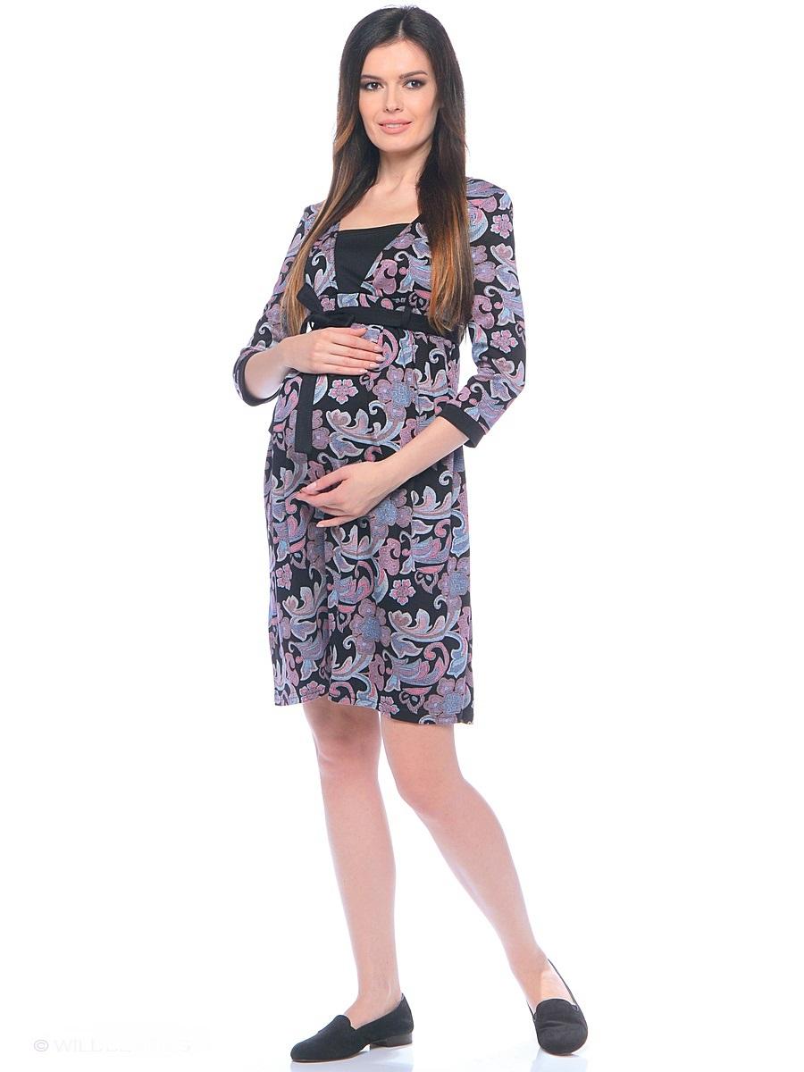 Платье300305Женственное платье для беременных и кормящих женщин из принтованной мягкой хлопковой ткани, с уникальным секретом кормления. Модель с V - образным вырезом по горловине, с рукавом 3/4. Фасон с завышенной линией талии, с легкими складками от кокетки, линию талии подчеркивает контрастный пояс завязка. Платье превосходно садится по фигуре, красиво обрисовывая женственный силуэт, подчеркивает достоинства, дарит комфорт.