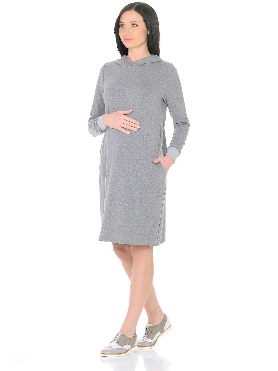 Платье для беременных 40 недель, цвет: серый. 300315. Размер 46300315Стильное повседневное платье для беременных от бренда 40 недель - практичное решение для будущей мамы. Комфортная модель прямого силуэта, с длинными рукавами на манжетах. Капюшон и карманы в боковых швах придают платью спортивный оттенок. Изделие отлично садится по фигуре, не сковывает движений, мягкая ткань создает комфорт для тела. Универсальный фасон позволяет носить такое платье как в период беременности, так и после рождения малыша.